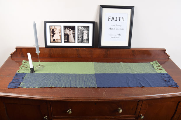 Navy & Green Table Runner Hand Woven