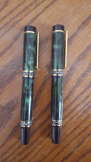 Ornate 2 Pen Set Dark Green