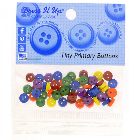 Dress It Up 6mm Tiny Buttons 40 count Primary Colours