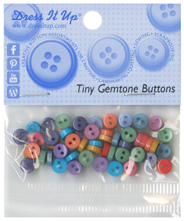 Dress It Up 6mm Tiny Buttons 40 count Gemstone Colours