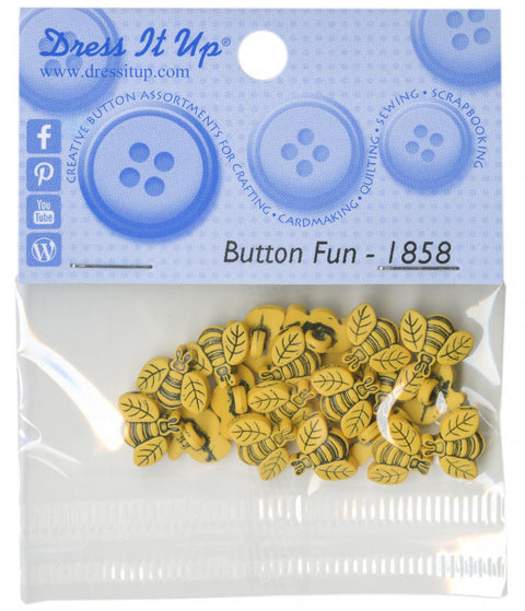 Dress It Up Tiny Bees 1cm Loop Buttons