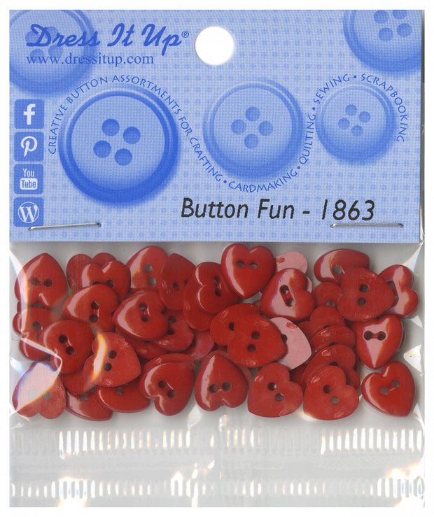 9mm Tiny Heart Buttons Red