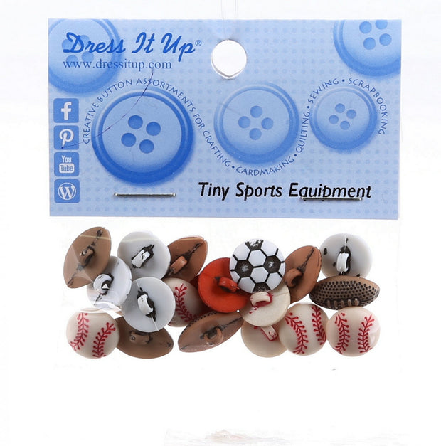 Tiny Sports Equipment Buttons 1/2 Inch