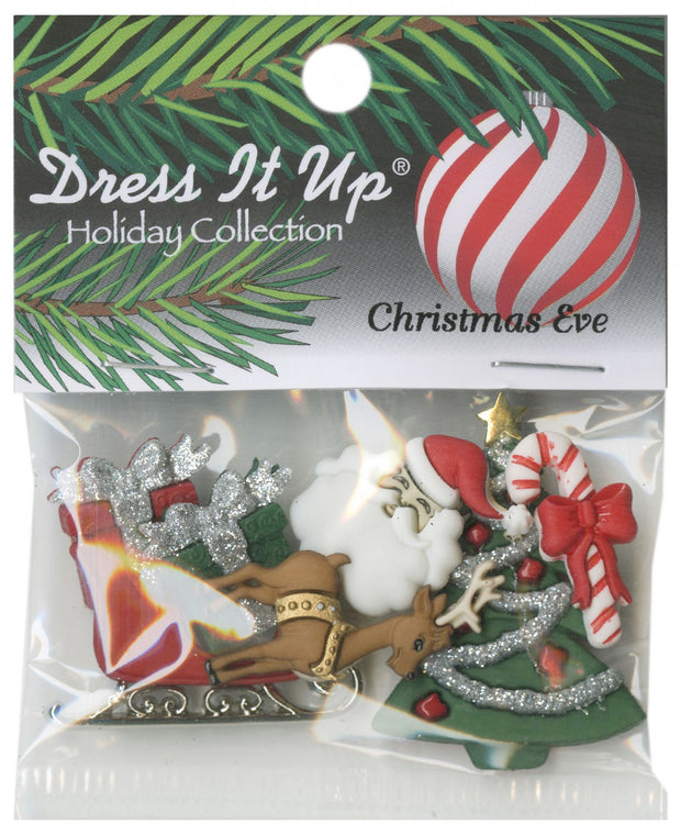 Dress It Up Christmas Eve Assorted Craft Buttons