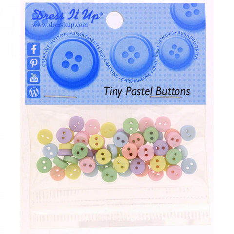 Dress It Up 6mm Tiny Buttons 40 count Pastel Colours