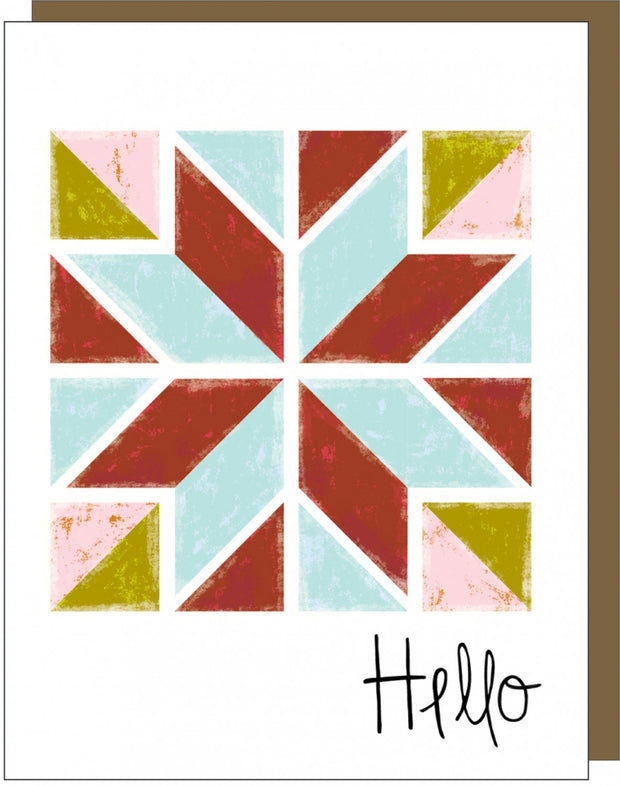 Barn Quilt Hello Note Card