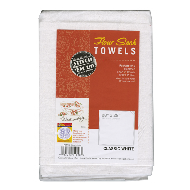 28in x 28in Old Fashion Flour Sack Towels White 2pk
