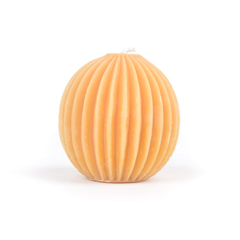 3 Inch beeswax fluted sphere candle