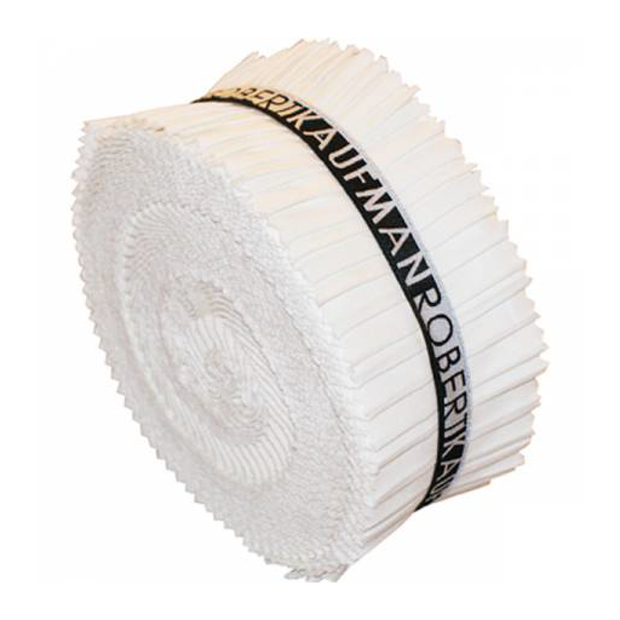 2.5in Strips Roll-Up KONA Solids White