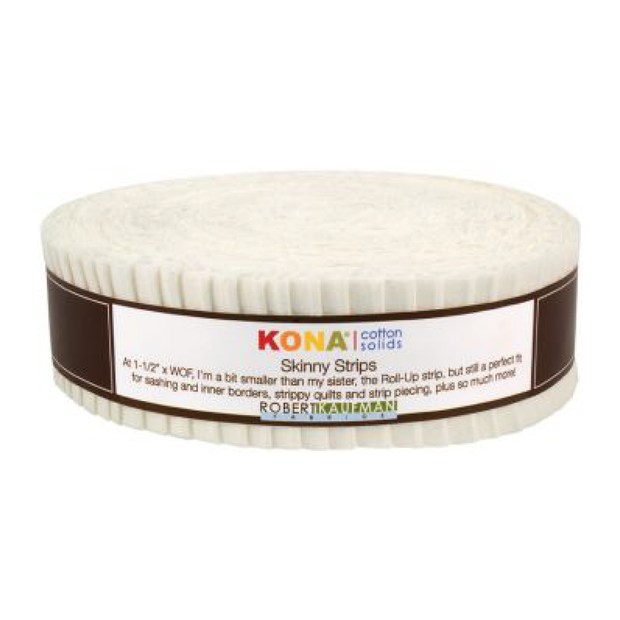 1.5in Skinny Strips KONA Solids Snow 40pc