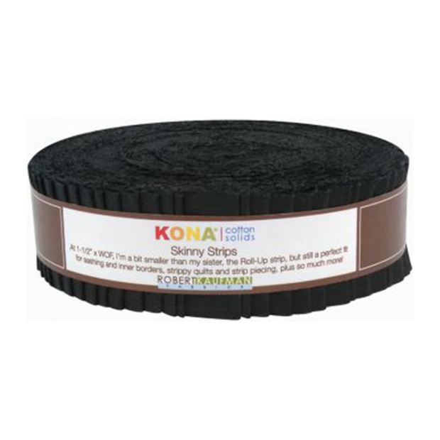 1.5in Skinny Strips KONA Solids Black 40pc
