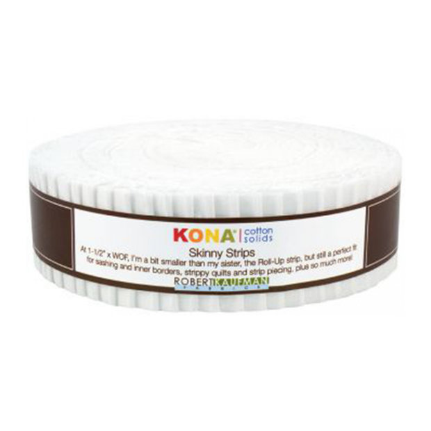 1.5in Skinny Strips KONA Solids White 40pc