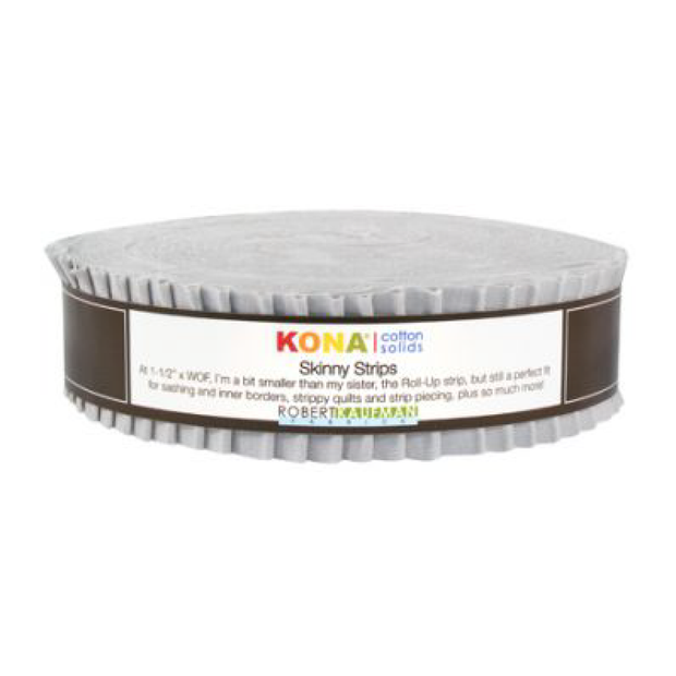 1.5in Skinny Strips KONA Solids Ash 40pc