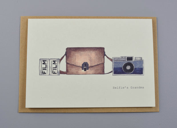 Boots Paper Notecard with hand illustrated cameras made of recycled paper