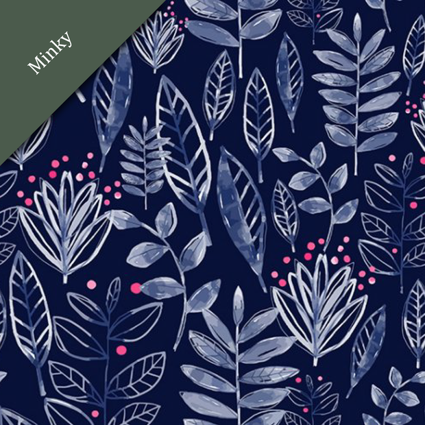 Digital Cuddle® Minky Modern Leaf Ink