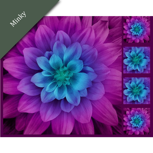 Digital Cuddle® Minky Floral Fabric Panel Aurora