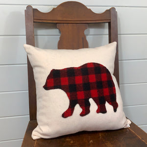 Woodland Buffalo Plaid Bear Pillow