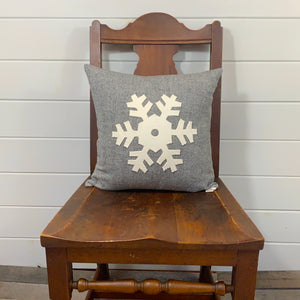 Snowflake Pillow - Gray