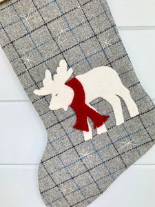 Rustic Christmas Moose Stocking