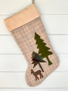 Woodland Deer Christmas Stocking