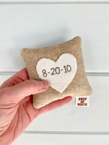 Personalized Heart Date Pillow