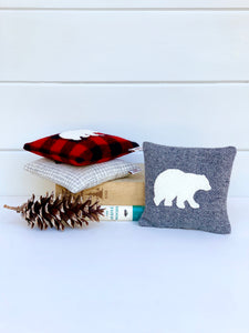 Buffalo Plaid Polar Bear Balsam Pillow