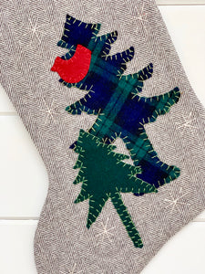 Cardinal in the Pines Christmas Stocking