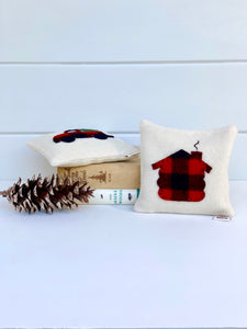 Buffalo Plaid Red Truck Pillow
