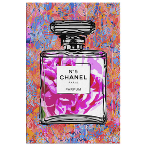 Coco Chanel No 5 Perfume Wrapped Canvas Boho Satement Art over Chalk Drawn Leaves - Island Dog T-Shirt Company