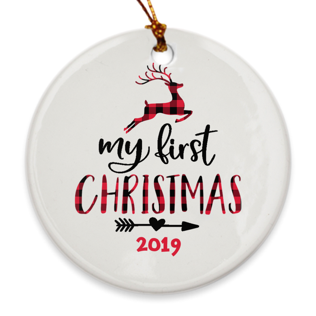 My First Christmas 2019 - Baby's 1st Christmas Tree Ornament - Plaid Leaping Deer - Island Dog T-Shirt Company