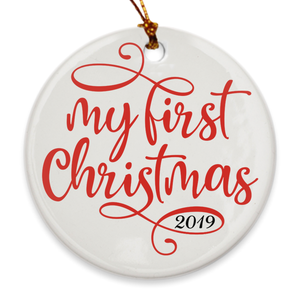 My First Christmas 2019 - Baby's 1st Christmas Tree Ornament - Holiday Scroll - Island Dog T-Shirt Company