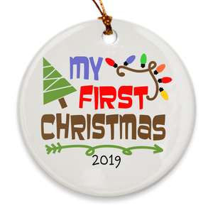 My First Christmas Tree Ornament 2019 - Baby's 1st Christmas - Christmas Tree Lights - Island Dog T-Shirt Company
