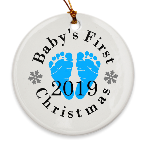 Baby's First Christmas Tree Ornament - Baby's 1st Christmas - Blue Footprints - Island Dog T-Shirt Company