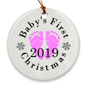 Baby's First Christmas Tree Ornament - Baby's 1st Christmas - Pink Footprints - Island Dog T-Shirt Company