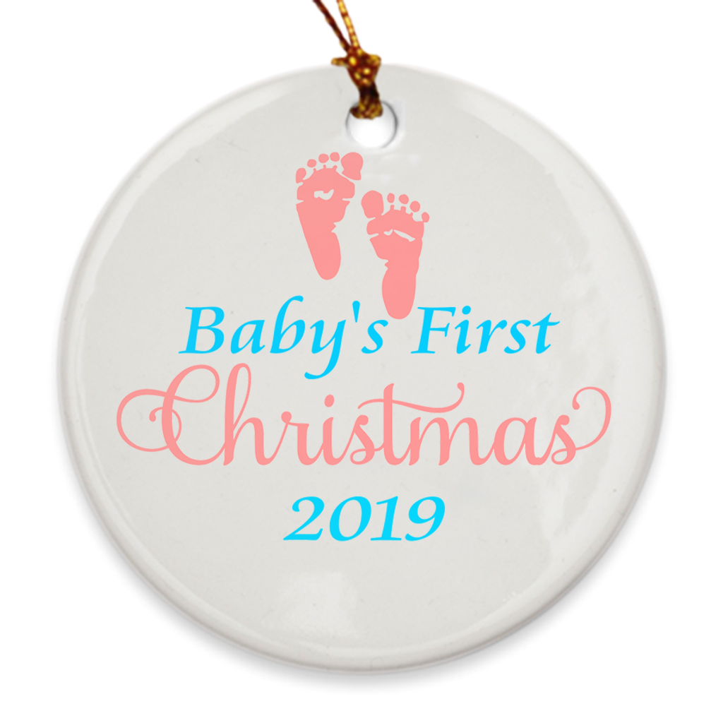 Baby's First Christmas 2019 - Baby's 1st Christmas Tree Ornament - Gender Neutral Footprints - Island Dog T-Shirt Company