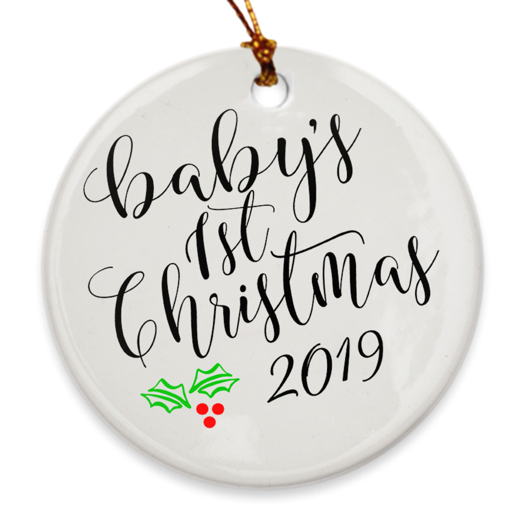 Baby's 1st Christmas Tree Ornament - Baby's First Christmas 2019 - Mistletoe - Island Dog T-Shirt Company