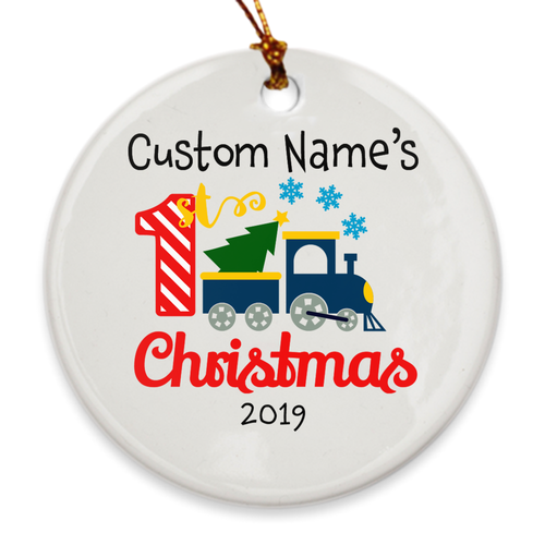 Custom Name My First Christmas Tree Ornament - Personalized Ornament - Train - Island Dog T-Shirt Company