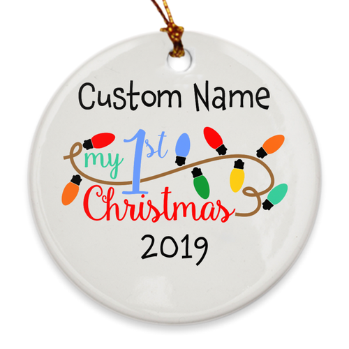 Custom Name My 1st Christmas Tree Ornament - Baby's First Christmas 2019 - Holiday Lights - Island Dog T-Shirt Company