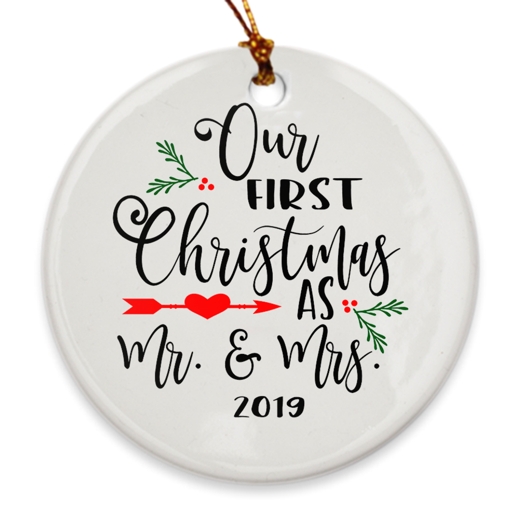 Our First Christmas as Mr. & Mrs. Tree Ornament 2019 - Our 1st Christmas Married - Mistletoe - Island Dog T-Shirt Company