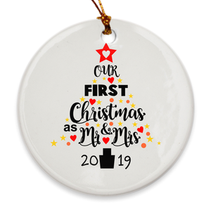 Our First Christmas as Mr. & Mrs. 2019 Christmas Tree Ornament - Our 1st Christmas Married - Star Tree - Island Dog T-Shirt Company