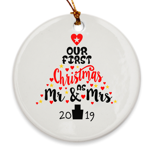 Our First Christmas as Mr. & Mrs. Christmas Tree Ornament - Our 1st Christmas - Heart Tree - Island Dog T-Shirt Company