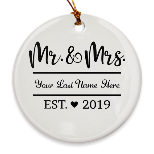 Custom Name Mr. & Mrs. Established 2019 Ornament - Our 1st Year Married Ornament - Island Dog T-Shirt Company