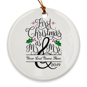 Custom Name First Christmas as Mr. & Mrs. 2019 Christmas Tree Ornament - Mistletoe - Island Dog T-Shirt Company