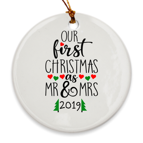 Our First Christmas as Mr. & Mrs. 2019 - Our 1st Christmas Married - Hearts - Island Dog T-Shirt Company