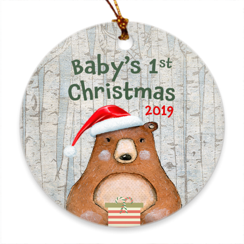 Baby's 1st Christmas 2019 - Baby's First Christmas Tree Ornament - Woodland Bear - Island Dog T-Shirt Company