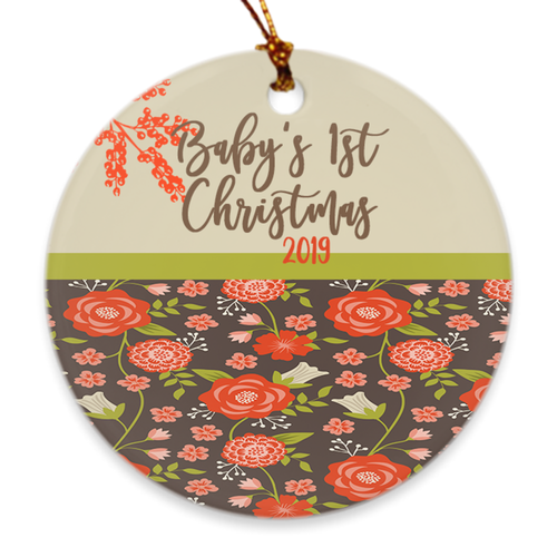 Baby's 1st Christmas 2019 - Newborn's First Christmas Tree Ornament - Modern Floral - Island Dog T-Shirt Company