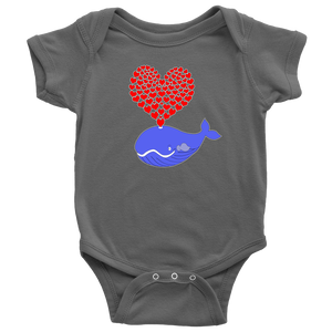 Whale Lover Babies Bodysuit - Cute Whale with Hearts Onesie Newborn - 24M - Island Dog T-Shirt Company
