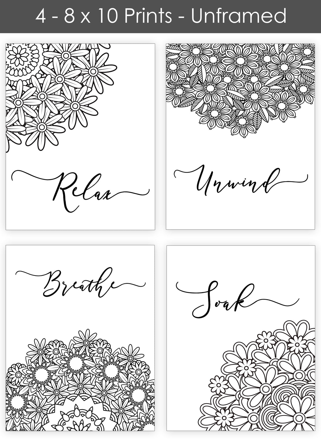 Bath Flowers Wall Art - Bathroom Quotes - Set of Four 8 x 10 Photos - Island Dog T-Shirt Company