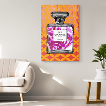 Coco Chanel No 5 Perfume Wrapped Canvas Boho Satement Art over Gold Sari Dreams - Island Dog T-Shirt Company