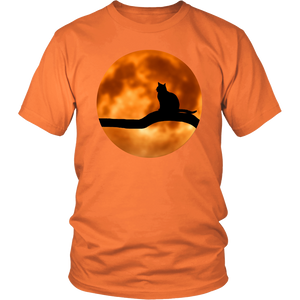 Spooky Black Cat & Full Moon Halloween T-Shirt for Men & Women - Island Dog T-Shirt Company